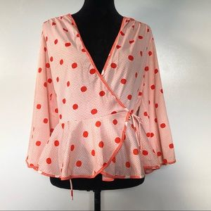 Vintage Womens Blouse Size Medium Polka Dot Wrap